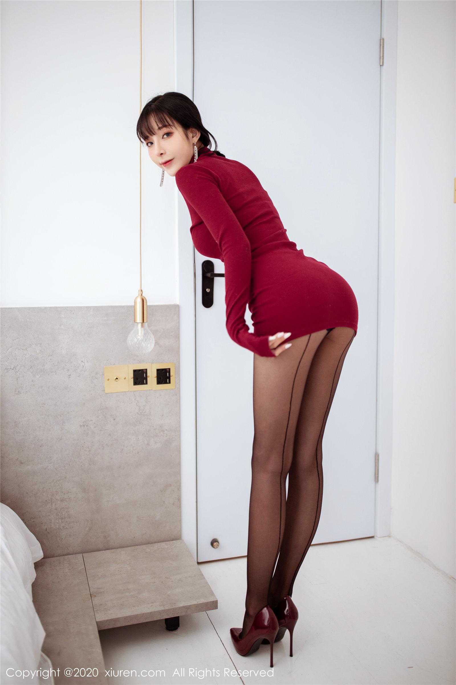 红色高领毛衣 高跟黑丝 陈小喵(Vol. 1968) 性感mm-第4张